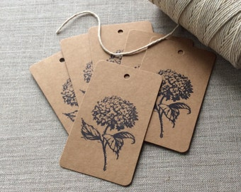 20 Hydrangea Gift tags, flower kraft gift tags, floral gift tags, wedding favors, gift tags