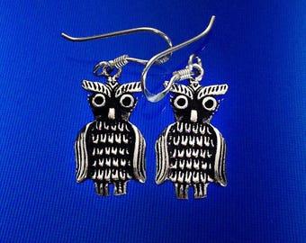 925 Solid Sterling Silver OWL Earrings/Dangle/Oxidized/OWL Jewelry /Owl Silver Jewelry/Owl Dangle/Earrings