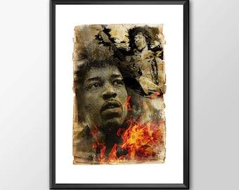Jimi Hendrix Music Tribute  - Original Digital Art - PRINTED for Boys and girls Geek man woman cave nerds bedroom office kids