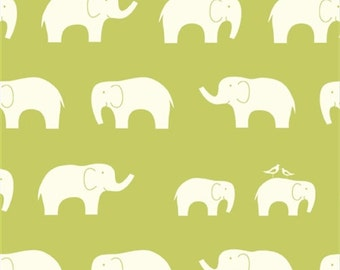Birch Elephant Family Grass Green Organic Cotton Fabric