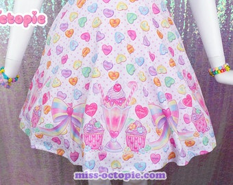 "White ""Lovely Candy Heart"" Skirt"
