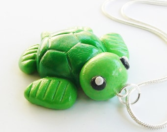 Turtle Sea Life Polymer Clay Necklace Charm