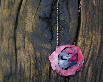 Rustic red rose pendant made from recycled copper