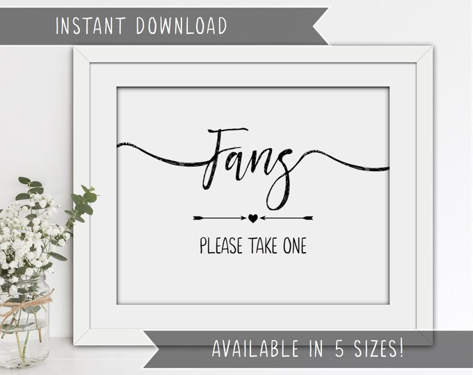 INSTANT DOWNLOAD - Printable Wedding Fans Sign