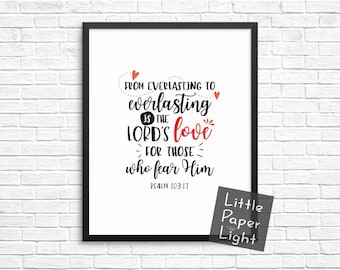 CLEARANCE - From Everlasting to Everlasting Bible Verse Print, Psalm, Scripture Typography, Christian Gift, Christening Gift 8x10 Print