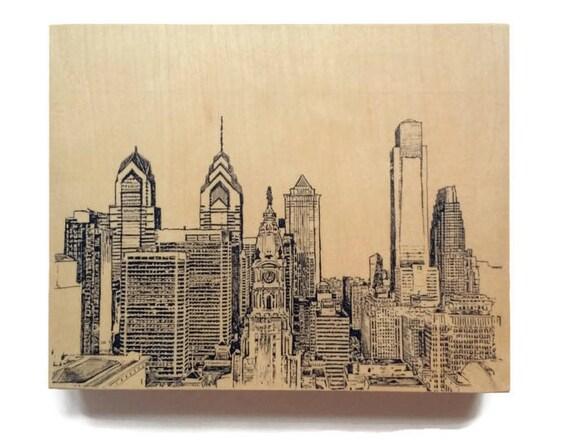 Philadelphia Skyline Art Wood Wall Art Philadelphia Art
