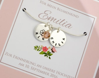 Wedding Flower-child necklace with engraving, 925 silver