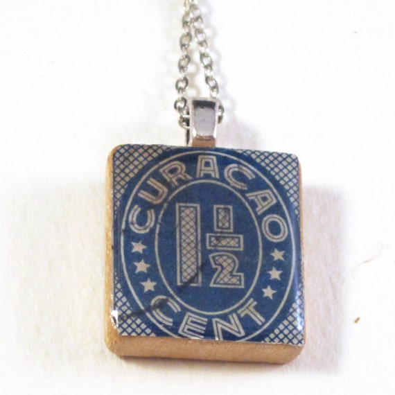 Scrabble tile neckace - Postage stamp variations