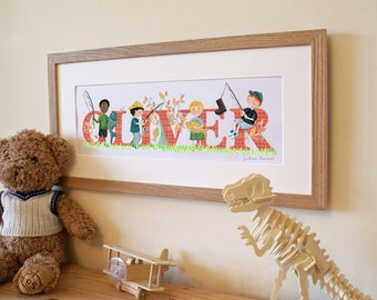 FISHING / ANGLING - Children's / kid's / baby's illustrated name art picture, personalised unframed print