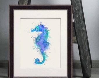 Seahorse beach decor - Seahorse blue watercolor print - Seahorse print Seahorse art Seahorse decor Coastal decor Nautical art Beach home art