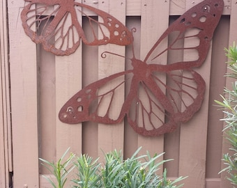 Outdoor Metal Wall Art - Natural Steel - Wall Art - Monarch Butterfly Metal Garden Wall Decor (Medium)