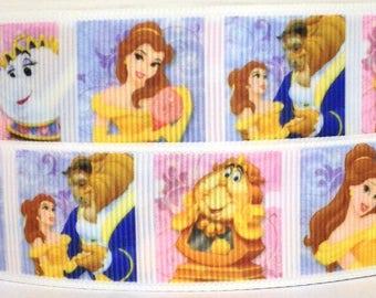 "Beauty and the Beast 1"" Grosgrain Ribbon - Disney Belle Ribbon - 3 yards Beauty and the Beast Ribbon - Beauty and the Beast Ribbon"