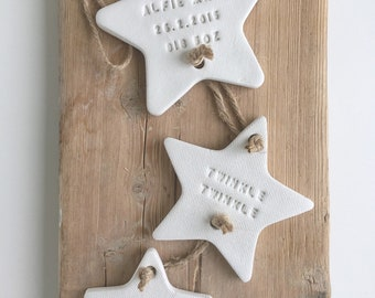 Personalised new baby gift / clay star / Twinkle Twinkle / nursery decoration / nursery decor