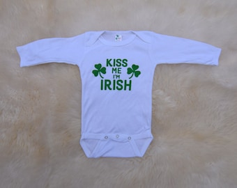 CLEARANCE 6-12 MONTHS Kiss Me I'm Irish Creeper .  Kiss Me I'm Irish Onepiece Kiss Me I'm Irish St. Patricks Onepiece St Pattys Day Shirt