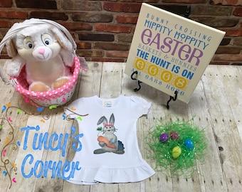 Easter Bunny Watercolor Ruffle Shirt