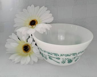 Federal Glass Mixing Bowl, Turquoise Antique Kitchen Utensils Pattern
