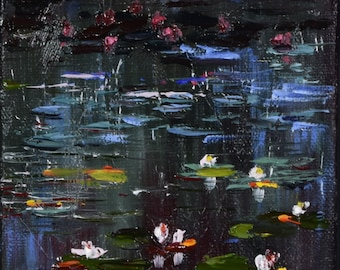 Water Lilies. Original oil painting. Oil on canvas.  5 x 5 x 1.5 in