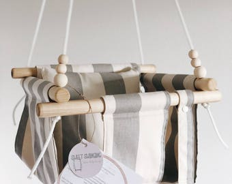Outdoor swing, gray stripes, baby swing, fabric swing, toddler swing, indoor swing, porch swing, nursery decor, wood swing, baby shower gif