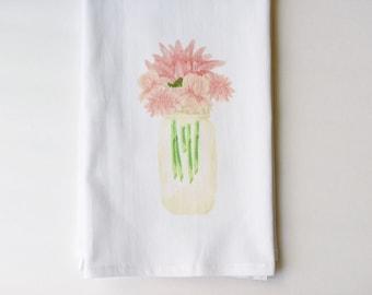 Sweet Watercolor Floral Mason Jar Flour Sack Towel | Colorful Vintage Inspired | Gifts under 10