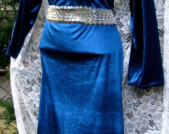 Joan of Arc style PLUS SIZE xl to 1x dress GLASS Jewel Collar gown of velour Norse Viking 1980s 80s beaded dress, adult Rhinestones dress