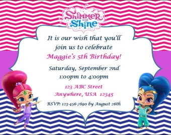 Shimmer and Shine Birthday Invitation - Customized