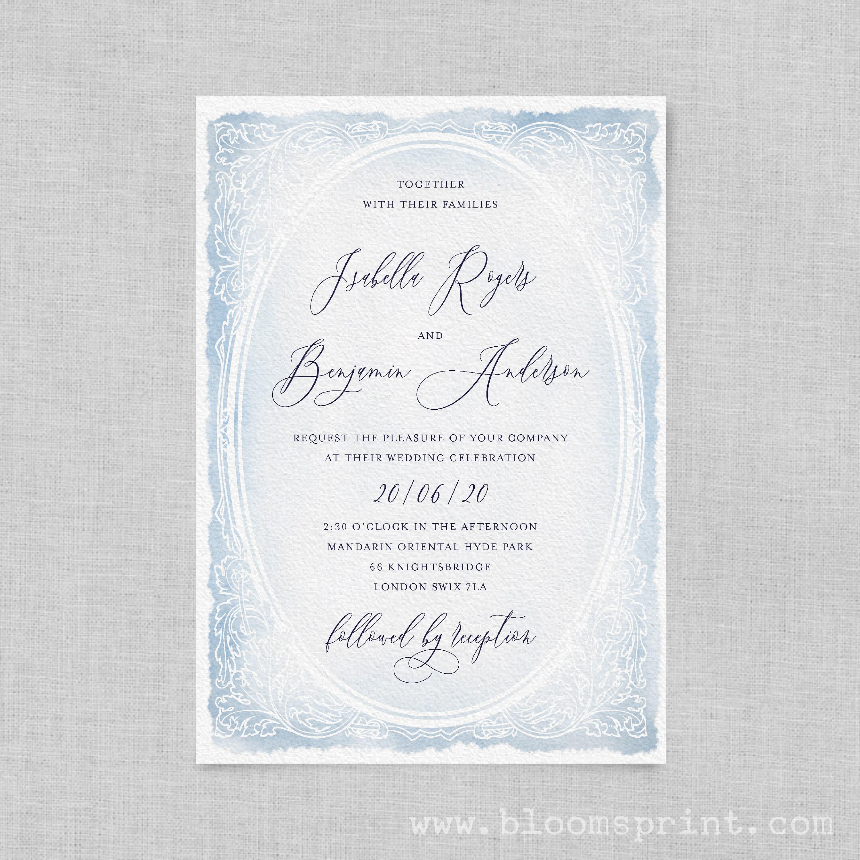 Watercolour wedding invitation pdf Printable wedding invitation