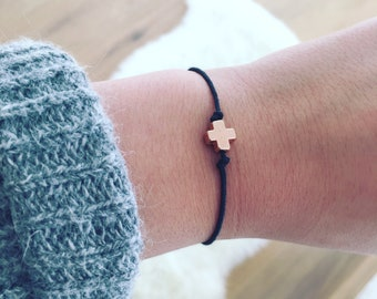 Bracelet Rose gold Cross charm Ajustable
