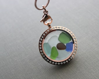 Genuine Sea Glass Locket Necklace, Stainless Steel Rose gold Prism Face Memory Locket with Multiple Colored Genuine Sea Glass - Beach
