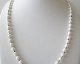 ON SALE Vintage MONET Crisp White Plastic Gold Metal Long Necklace 112316