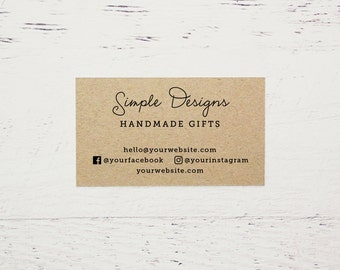 Custom Printed Brown Kraft Business Cards, Etsy Business Cards, Printed Business Cards, Kraft Business Cards, Calling Cards - Design #03