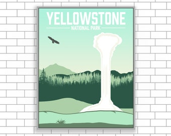 Yellowstone, Wyoming, Yellowstone Canvas, National Park, National Park Art, Visit Yellowstone, Visit Wyoming, Modern Illustration,Home Decor