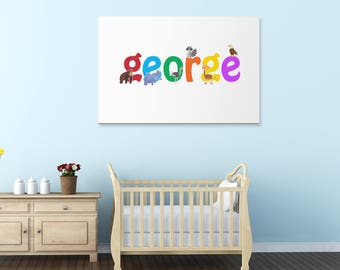 George wall canvas, George wall art, George animal art print, Nursery canvas, Kids bedroom canvas, UK,USA.