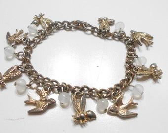 Vintage Birds And Bees Charm Bracelet (622) Coro