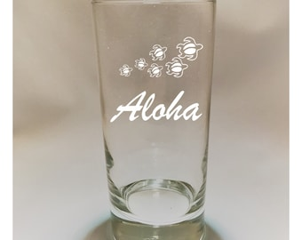 HIghball Glass Etched with Hawaiian Turtles with Script Free Shipping