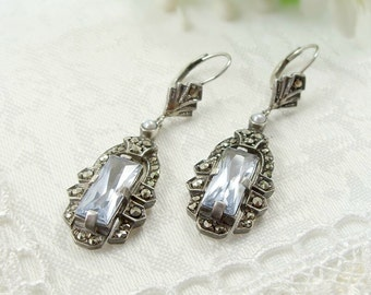 Decorative Vintage marcasite earrings with paste aquamarine || МАРКАЗИТ 134V""