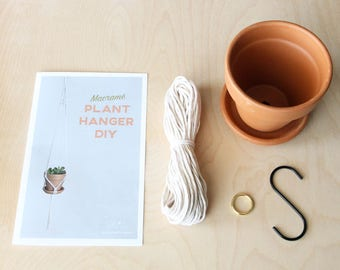 Small Macrame Plant Hanger DIY Kit with Pattern and Instructions