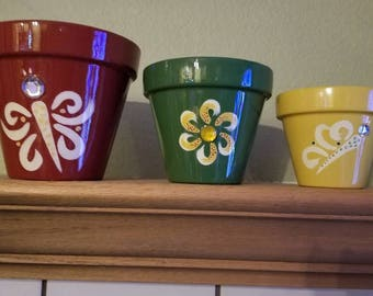 Hand Painted Butterfly Clay Pots