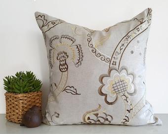 Beige Pillows, Designer Pillows, Cushion Covers, Neutral Throw Pillows, Gold Pewter Cream,  Embroidered, Jacobean, Floral Pillow, 18x18, NEW