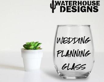 wedding planning glass - bride gift - engagement gift - stemless wine glass - bridal shower - planning glass - bride glass - future mrs -