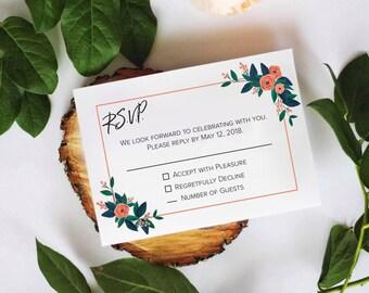 Printable RSVP Card | Wedding Response Card | Vintage Florals