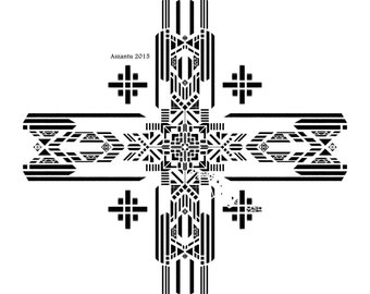 Art deco symmetrical mystery cross print navajo style star poster / self explore / self aware / self reflect poster / indian style / signed