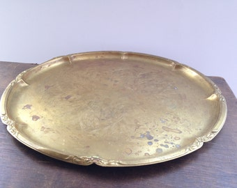 Vintage brass tray Round serving tray Large round metal tray Ornated engraved brass tray