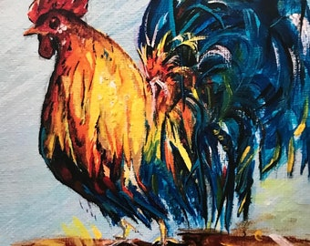 Blue Feathered Rooster - Original Art Print - Farmhouse-Barn-Primitive Art