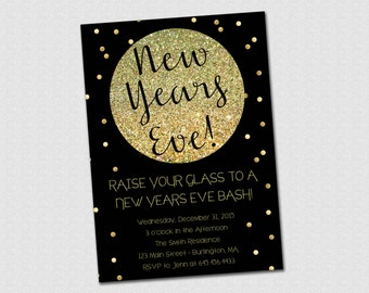 New Years Eve Party Invitation in Black and Gold Glitter - PRINTABLE
