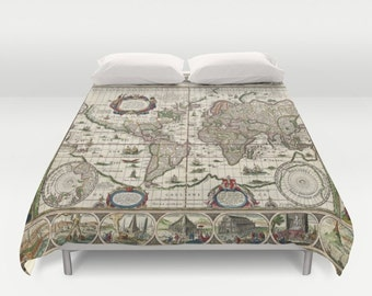 World map bedding etsy old world map duvet cover doublefullqueenking bedding bedroom bed home gumiabroncs Images