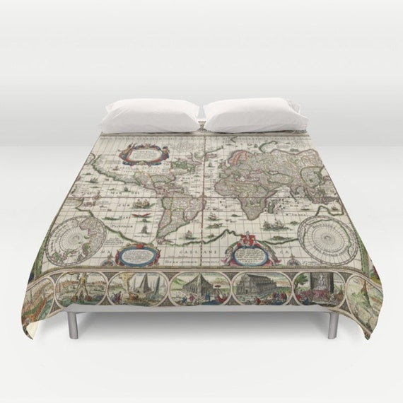 Old world map duvet cover doublefullqueenking bedding gumiabroncs Choice Image