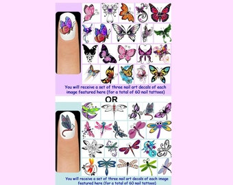 60 x Butterflies OR Dragonflies Nail Art Decals + Free Rhinestones Butterfly Dragonfly Wings Tattoo Insect