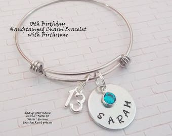 13th Birthday Gift Girl, 13th Birthday Girl Charm Bracelet, Personalized Gift Girls Birthday, Personalized Birthstone Bracelet for Girl