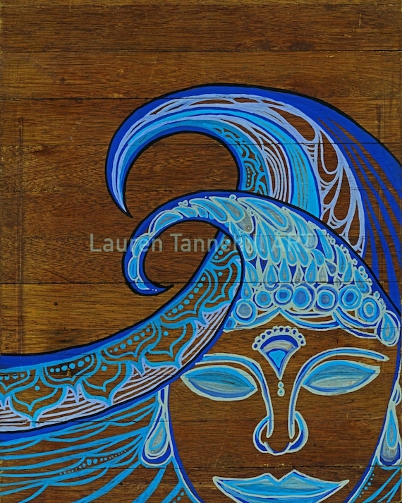 8x10 Giclee Print of Zen Waves Surf Art Print with Buddha Siddhartha by Lauren Tannehill ART