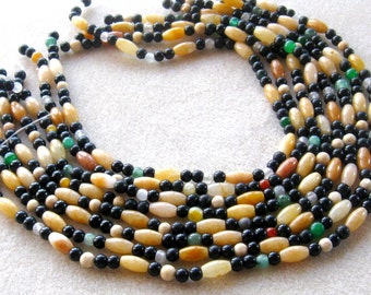 Multi Gemstone, Mixed Bead Strands, Obsidian Round Beads, Aventurine Barrel Beads, Gemstone Beads, Jewelry Making Beads, Craft Supplies